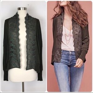 Anthropologie Tiny green lace cardigan